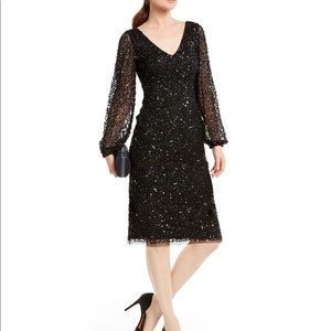 Adrianna Papell black long sleeve sequins dress.